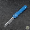 (#VNT-0110) Microtech Blue UTX-70 S/E Black Plain - Front