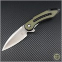 (#WKG13N) Steelcraft Glimpse Black G10 Handle w/ Green G10 Inlay, Non-Fluted Satin Blade - Front