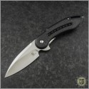 (#WKGCF1N) Steelcraft Glimpse Black G10 Handle w/ CF, Non-Fluted Satin Blade - Front