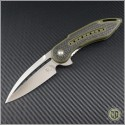 (#WKGCF3F) Steelcraft Glimpse Green G10 Handle w/ CF, Fluted Satin Blade - Front