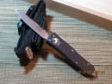 Microtech UT-X85 - Black Handle - Satin Plain Blade - Silver Hardware - Front