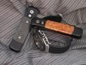 Protech Godson - Maple Burl Wood Inlays - Black Blade - Black Handle - Additional View